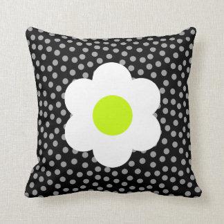 White flower & polka dots throw pillow