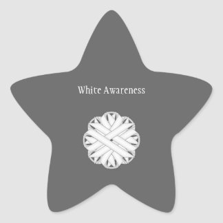 White Flower Ribbon Star Sticker