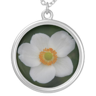 white flower silver plated necklace