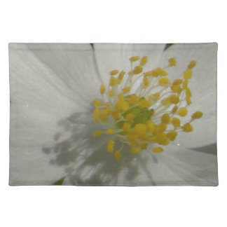 White flower with yellow middle placemat