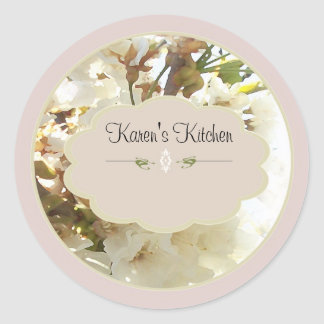 white flowers 2 spice jar labels round stickers