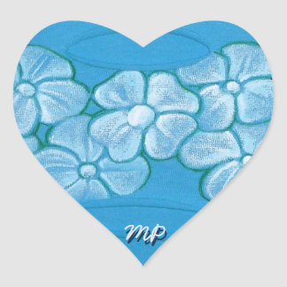 White Flowers Hand Painted on Ripped Fabric Heart Sticker