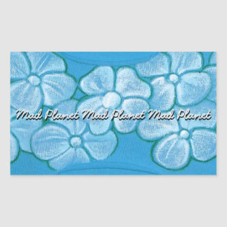 White Flowers Hand Painted on Ripped Fabric Rectangular Sticker