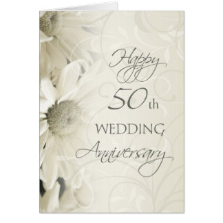 White Flowers Happy 50th Wedding  Anniversary Card