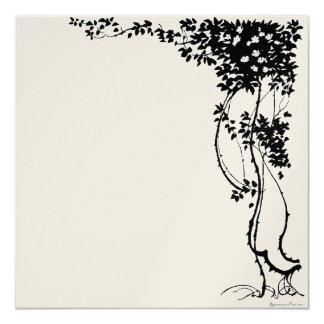 White Flowers on a Vine Metallic Paper Invitation! Card