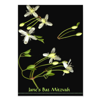 white flowers on black Bat Mitzvah invite