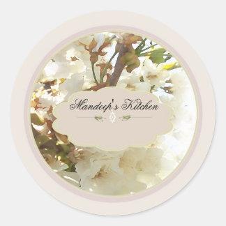 white flowers spice jar labels 2 round sticker