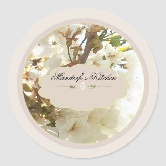 white flowers spice jar labels 2 stickers