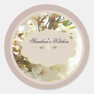 white flowers spice jar labels 3 round sticker