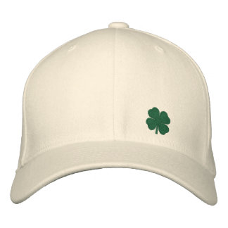 White Four Leaf Clover St. Patrick  - CUSTOMIZABLE Embroidered Hat