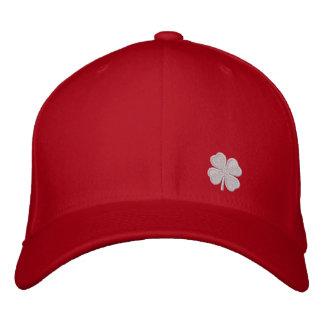 White Four Leaf Clover St. Patricks Dat Red Hat Baseball Cap
