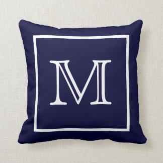 White Framed Blue Monogram American MoJo Pillow