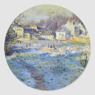 White Frost by Claude Monet Classic Round Sticker