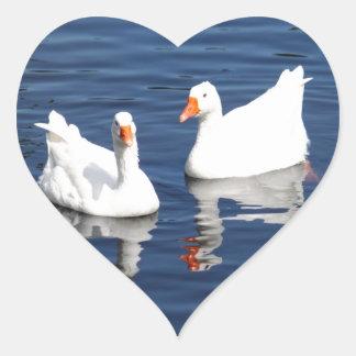 White Geese 9598 Heart Sticker