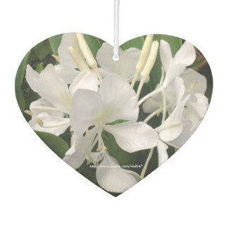 White Ginger Lilies Car Air Freshener