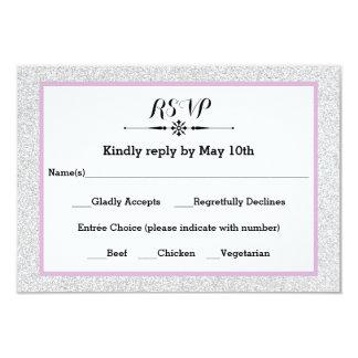 White Glitter and Lilac Frame- RSVP Response Card 9 Cm X 13 Cm Invitation Card