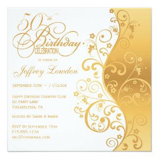 White & Gold 50th Birthday Party Invitation