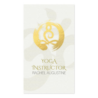 White Gold Calligraphy Yoga Meditation ZEN Symbol Pack Of Standard Business Cards