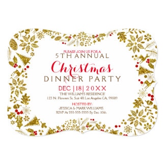 White & Gold Christmas Wreath Party Invitation