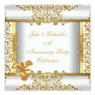 White Gold Elegant Gold 50th Wedding Anniversary 2 13 Cm X 13 Cm Square Invitation Card