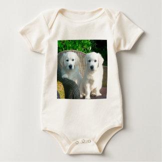 White Golden Retriever Dogs Sitting in Fiber Chai Baby Bodysuit
