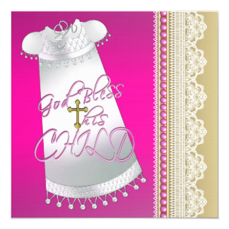 White Gown Cross Baby Girl Hot Pink Christening Card