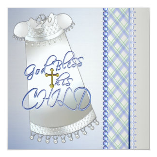 White Gown Cross Boys Blue Christening Invitations