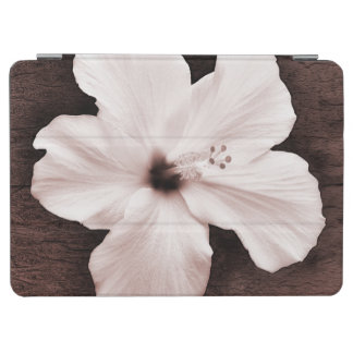 White Hawaiian Hibiscus Sepia Tropical Flower iPad Air Cover