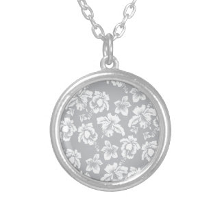 White Hawaiian Orchid Silver Plated Necklace