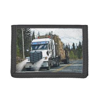 White Hay Truck-lovers Farm Lorry Tri-fold Wallet