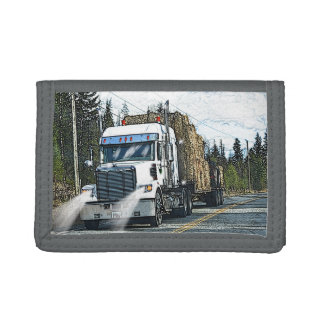White Hay Truck-lovers Farm Lorry Trifold Wallets