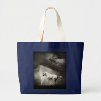 White horse large tote bag