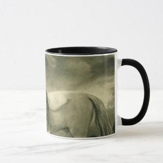 white horse woman mug