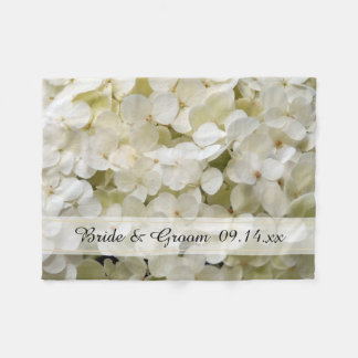 White Hydrangea Floral Wedding Fleece Blanket