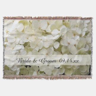 White Hydrangea Flower Wedding Throw Blanket