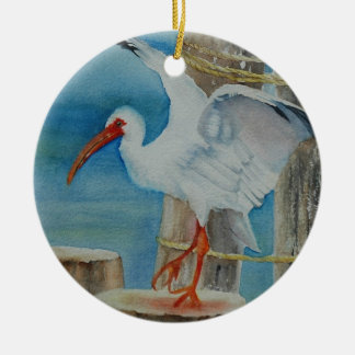 White Ibis by Peggy Allen Christmas Ornament