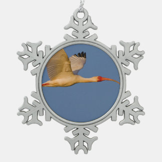 white ibis in flight snowflake pewter christmas ornament