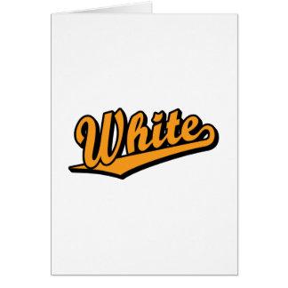 White in Orange Greeting Cards