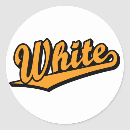 White in Orange Round Sticker