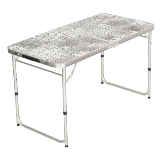 White Jigsaw Puzzle Pieces Folding Table