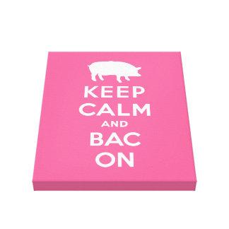 White keep calm and bacon canvas print