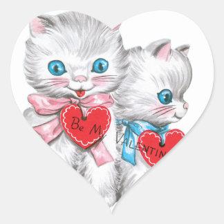 White Kittens Valentine Heart Sticker