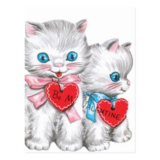 White Kittens Valentine Postcard