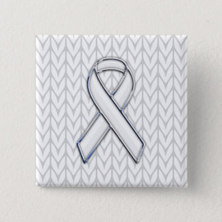White Knit Style Ribbon Awareness Print 15 Cm Square Badge