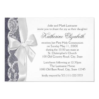 White Lace and Denim First Communion 13 Cm X 18 Cm Invitation Card