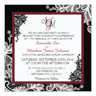 White Lace Black Modern Goth Wedding Invitation