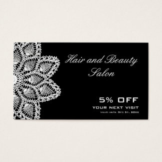 White Lace Discount Coupon - Hair and Beauty Salon Business Card