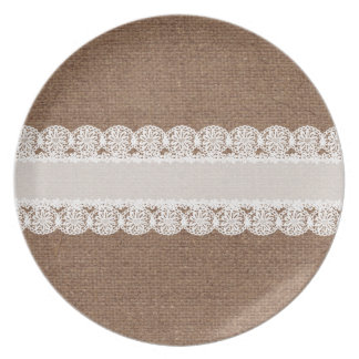 White Lace Flower Ribbon on Burlap - Shabby Chic Plate