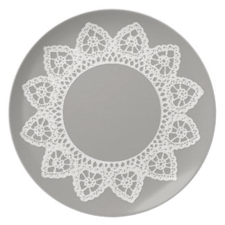 White Lace Melamine Plate