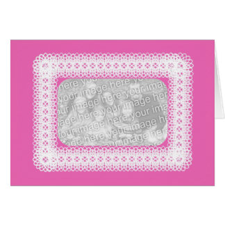 White Lace On Pink Card